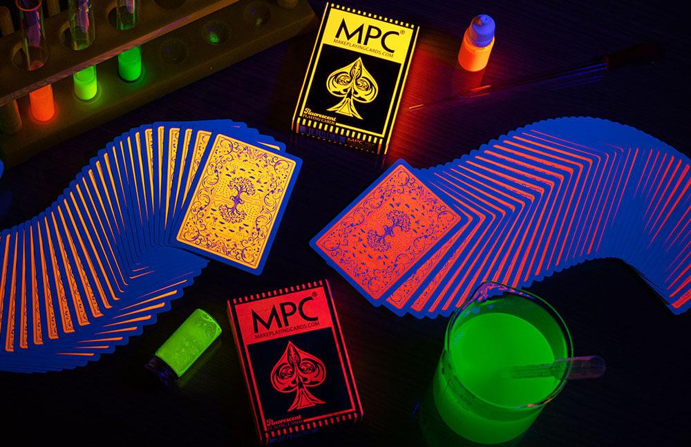 Peach & Pumpkin Fluorescent Ink Playing Cards